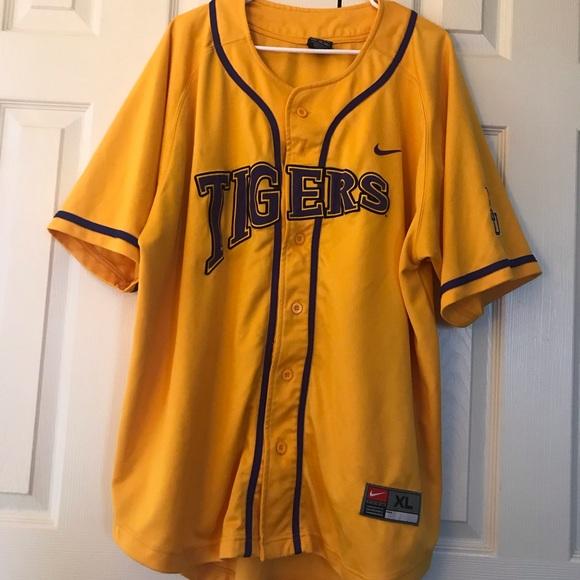 the latest ade08 dddb7 NIKE XL LSU Tigers Baseball Jersey